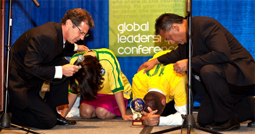 The shepherds lay on hands and pray as the Spirit sends off the Sao Paulo Mission Team!