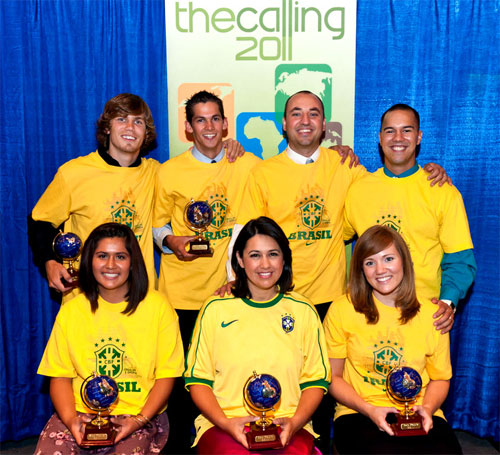 The Third Crown of Thorns Mission Team – Sao Paulo! (Front row -- Margie Flores, Lynda Moreno and Shay Sears; back row – Joey Underhill, Malcolm Abbott, Raul Moreno and Tyler Sears)